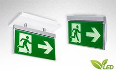 Moderne und flache Rettungszeichenleuchte Notleuchte zur Kennzeichnung von Rettungswegen.